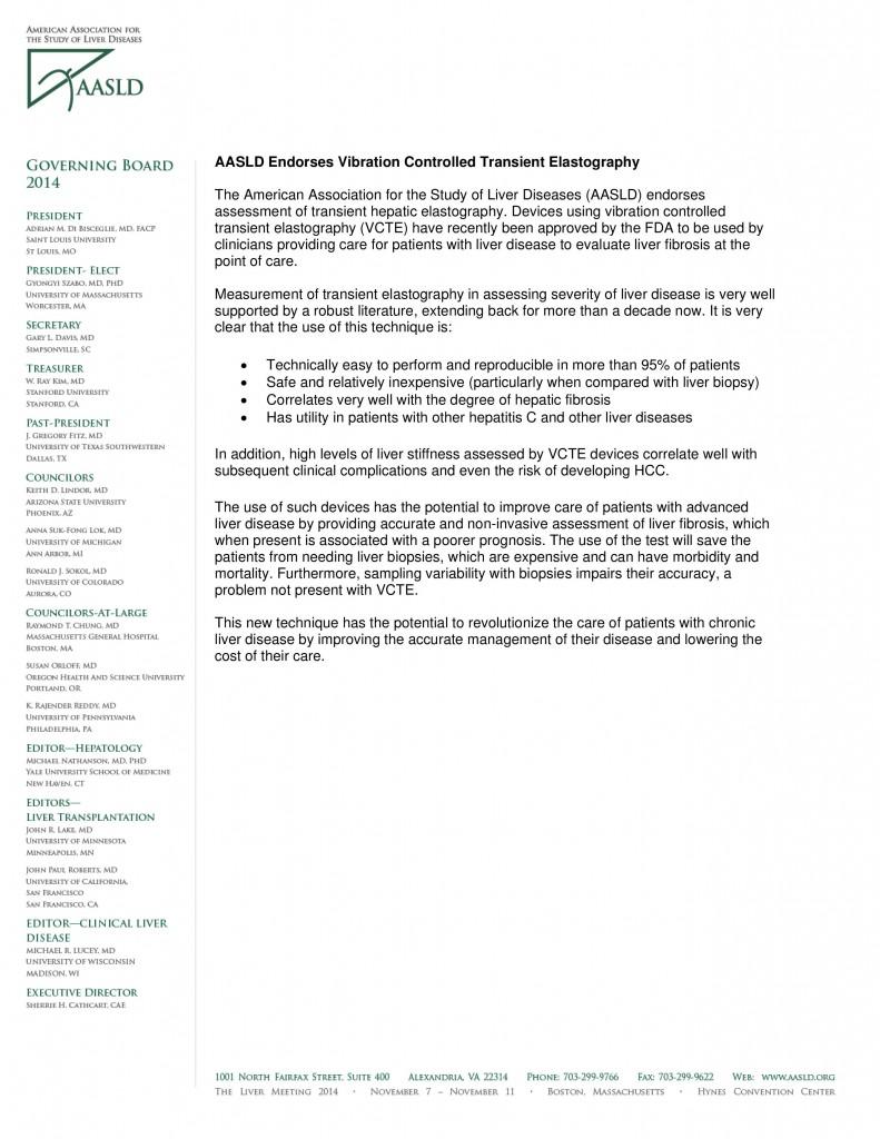 AASLD Endorses Vibration Controlled Transient Elastography